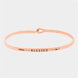 "Jewelry - • ""Blessed"" thin metal hook bracelet"